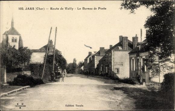 Ak Jars Cher, Route de Vailly, Le Bureau de Poste, Straßenpartie, Postamt, Byrrh Reklameschild