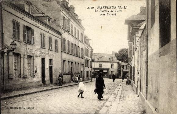 Ak Harfleur Seine Maritime, Le Bureau de Poste, Rue Carnot