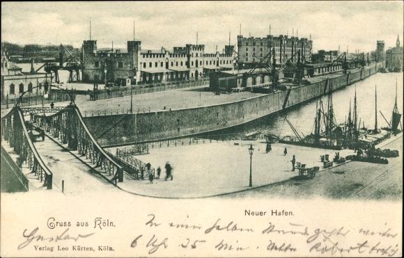 Ak Köln am Rhein, Blick auf den neuen Hafen, Schiffsbrücke, Boote