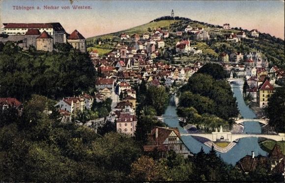 Ak Tübingen am Neckar Baden Württemberg, Blick auf Stadt und Neckar vom Westen