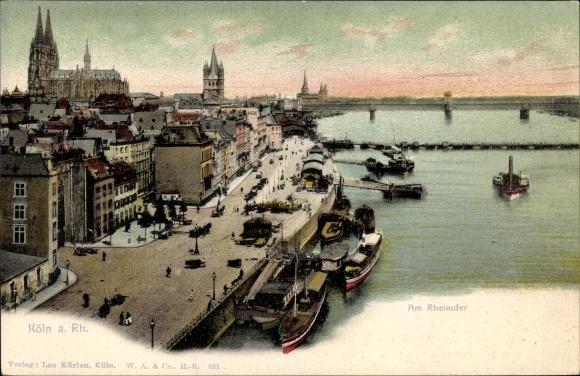 Ak Köln am Rhein, Am Rheinufer, Teilansicht von Stadt