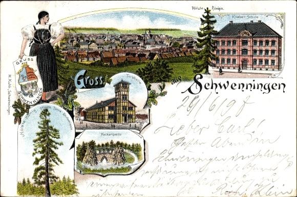 Litho Villingen Schwenningen im Schwarzwald, Knabenschule, Turnhalle, Neckarquelle, Hölzlekönigin
