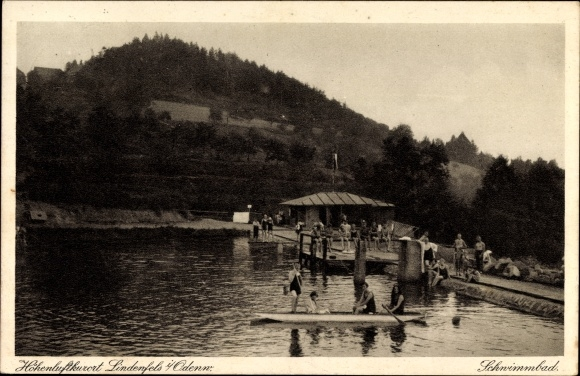 Ak Lindenfels im Odenwald Hessen, Badegäste im Schwimmbad, Kanu, Steg
