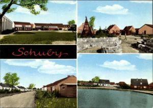 Ak Schuby in Schleswig Holstein, Straßenpartie, Wohnsiedlung, Spielplatz, Teichblick