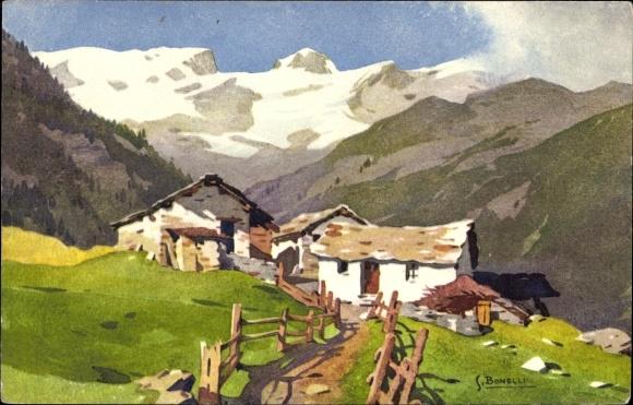Künstler Ak Bonelli, S., Gebirgsidyll, Berghaus, Vallée de Champoluc vers le Breithorn