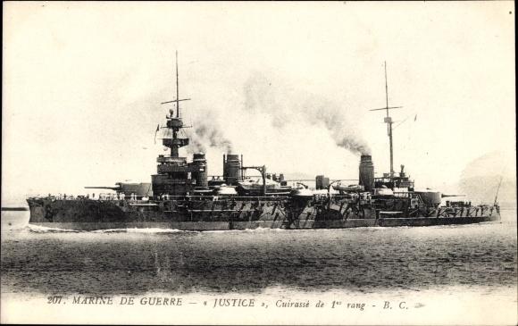 Ak Französisches Kriegsschiff, Justice, Cuirassé de 1er rang, Marine Militaire Francaise