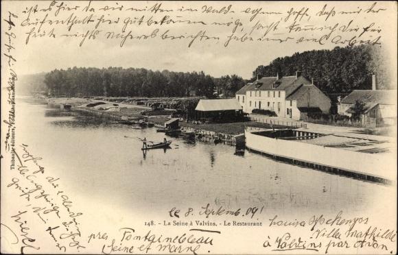 Ak Valvins Samois sur Seine Seine et Marne, Blick auf den Fluss