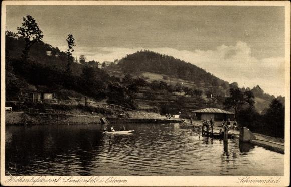 Ak Lindenfels im Odenwald Hessen Teilansicht, Schwimmbad, Badegäste, Boot