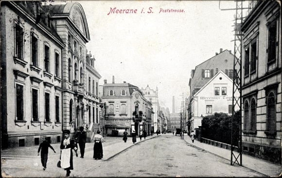 Ak Meerane in Sachsen, Poststraße, Passanten, Meeraner Tageblatt