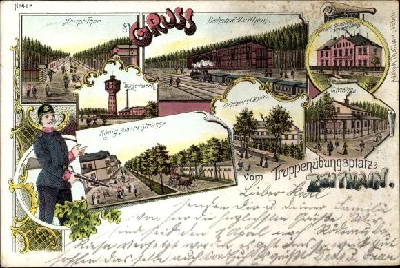 Litho Zeithain in Sachsen, Truppenübungsplatz, Bahnhof, König Albert Straße, Offizierskasino,Kantine