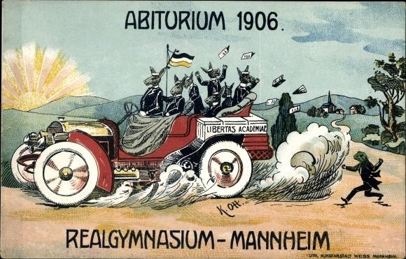 Studentika Ak Mannheim in Baden Württemberg, Abiturium 1906, Realgymnasium Mannheim