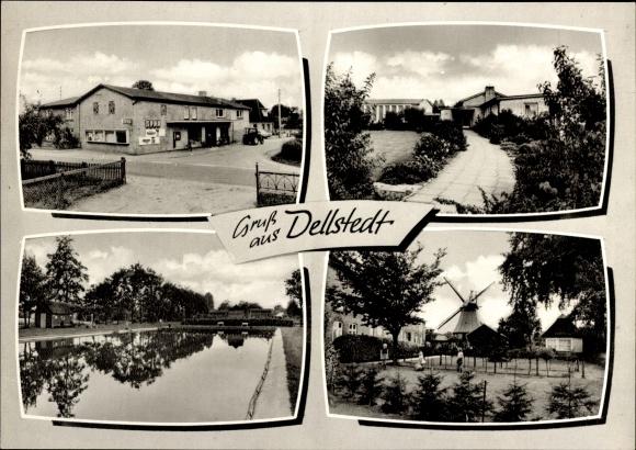 Ak Dellstedt b. Tellingstedt, Lebensmittel Edler, Freibad, Windmühle