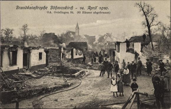 Ak Böhmenkirch, Brandkatastrophe, 14. April 1910, zerstörtes Dorf