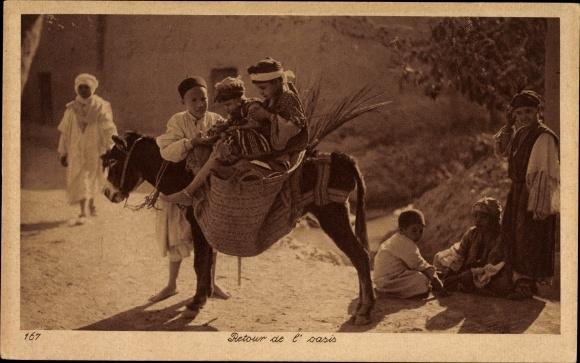 Ak Retour de l'oasis, Jungen reiten auf einem Esel, Lehnert & Landrock 167