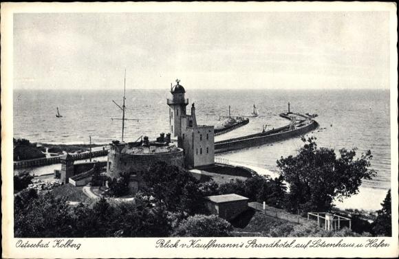 Ak Kołobrzeg Kolberg Pommern, Kaufmanns Strandhotel, Lotsenhaus, Hafen, Mole