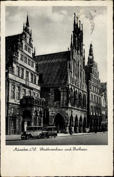 Ak Münster in Westfalen, Stadtweinhaus und Rathaus, Autos