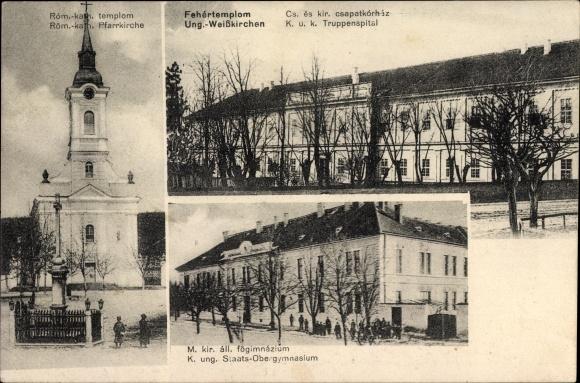 Ak Bela Crkva Weißkirchen Serbien, Röm. kath. Pfarrkirche, Kuk Truppenspital, Staatsobergymnasium