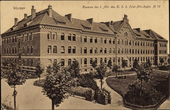 Ak Wurzen in Sachsen, Blick auf die Kaserne der Abt I des K S 8 Feld Art Regts Nummer 78