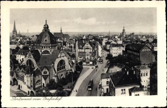 Judaika Ak Dortmund im Ruhrgebiet, Blick auf Stadt vom Grafenhof, Synagoge
