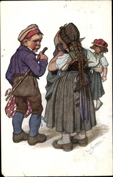 Künstler Ak Beithan, Emil, Schwarzwaldtrachten, Soldat