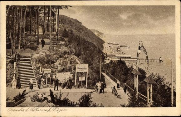 Ak Ostseebad Sellin auf Rügen, Treppe zum Strand, Baustellen