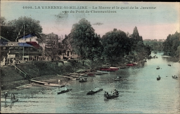 Ak Saint Maur des Fossés Val de Marne, La Marne et le Quai de la Varenne vus du Pont de Chennevières
