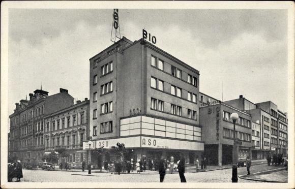 Ak Plzeň Pilsen Stadt, Warenhaus ASO, BIO, Obchodni dum, Straßenecke