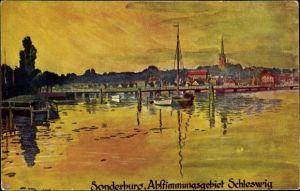 Künstler Ak Sønderborg Sonderburg Dänemark, Abstimmungsgebiet Schleswig, Ort