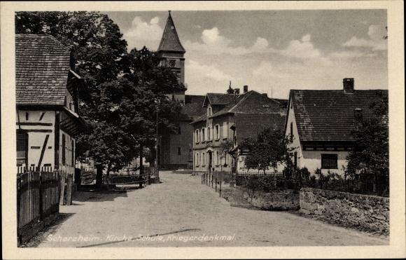 Ak Scherzheim Lichtenau, Straßenpartie, Kirche, Schule, Kriegerdenkmal