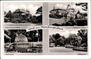 Ak Mönchengladbach in Nordrhein Westfalen, Kaiser Friedrich Halle, Münster, Rathaus, Park, Garten