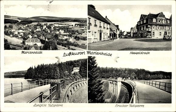 Ak Marienheide in Nordrhein Westfalen, Lingese und Brucher Talsperre, Hauptstraße, Ortsblick