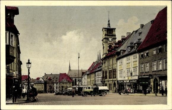Ak Cheb Eger Reg. Karlsbad, Marktplatz, Namesti