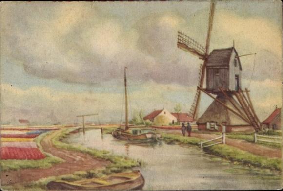 Künstler Ak Ansicht einer Windmühle, am Wasser, Hebebrücke, Blumenbeete