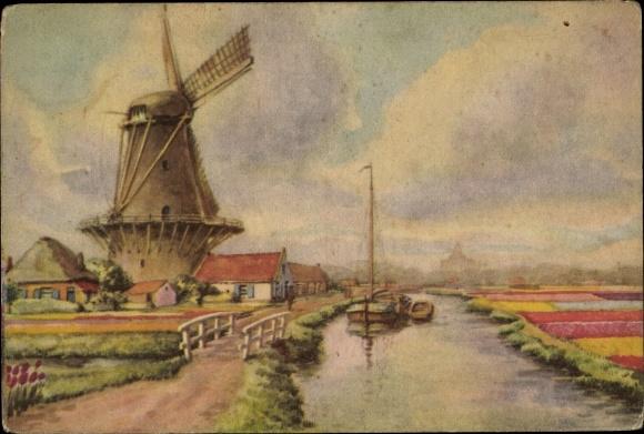 Künstler Ak Ansicht einer Windmühle, Flussufer, Blumenbeete
