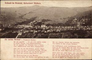 Ak Schnait Remstal Weinstadt, Panorama von der Ortschaft, Lied von Friedrich Silchers