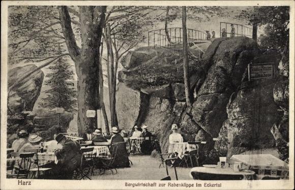 Ak Bad Harzburg in Niedersachsen, Bergwirtschaft zur Rabenklippe im Eckertal