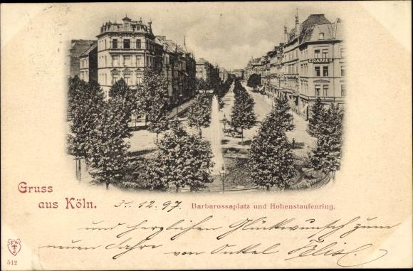Ak Köln am Rhein, Barbarossaplatz und Hohenstaufenring
