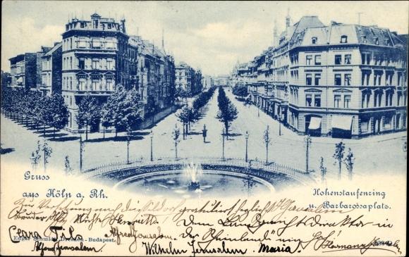 Ak Köln am Rhein, Hohenstaufenring und Barbarossaplatz, Springbrunnen