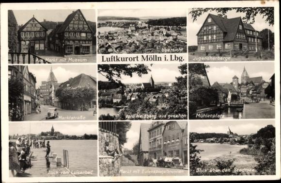Ak Mölln im Herzogtum Lauenburg, Markt, Museum, Jugendherberge, Ortsblick, Eulenspiegelbrunnen