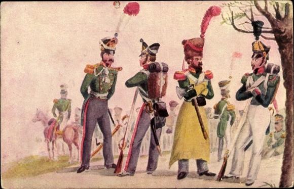 Künstler Ak Suhr, C., Hamburger Leben im Anfang des 19jh, Infanterie um 1814, Märzfeier 1913