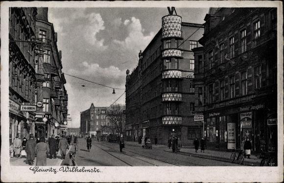 Ak Gliwice Gleiwitz Schlesien, Wilhelmstraße, Straßenpartie, Geschäft Theodor Janetzko