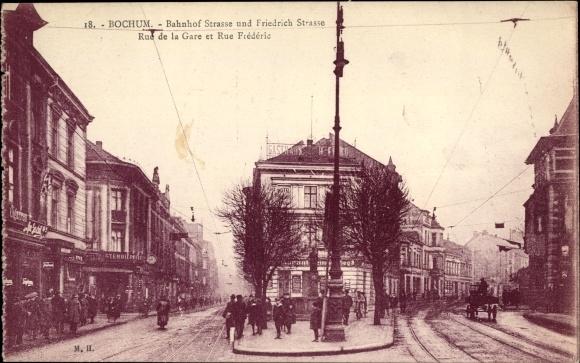 Ak Bochum im Ruhrgebiet, Bahnhofstraße, Friedrichstraße, Rue de la Gare, Rue Frederic