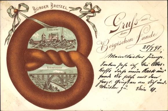 Brezel Passepartout Litho Burg an der Wupper Solingen, Burger Bretzel, Riesenbrücke