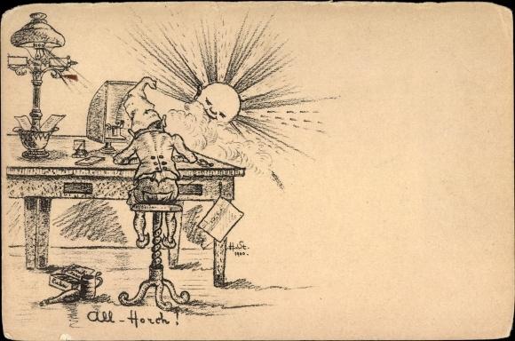Künstler Ak All Horch, Zwerg an einem Schreibtisch, Sonnenaufgang, Morseapparat