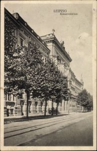 Ak Leipzig in Sachsen, Seitenblick auf das Konservatorium, Gleise