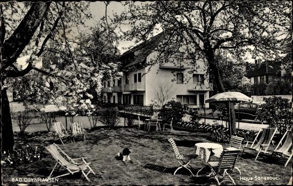 Ak Bad Oeynhausen in Nordrhein Westfalen, Haus Sanssouci, Inh. W. Fricke, Terrasse
