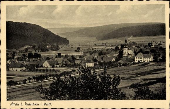 Ak Atteln Lichtenau in Westfalen, Panorama von der Ortschaft und Umgebung