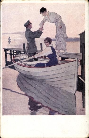 Künstler Wennerberg, Bruno, Soldat und Frauen in einem Boot, Heimaturlaub