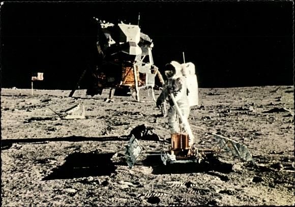 Ak 21 Juli 1969, Menschen auf dem Mond, Astronaut Edwin Aldrin, Laser Reflektor