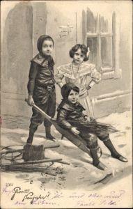 Ak Glückwunsch Neujahr, Kinder als Schornsteinfeger, Mädchen